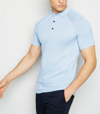 Pale Blue Knit Muscle Fit Polo Shirt