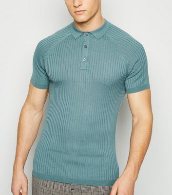 Teal Knit Muscle Fit Polo Shirt