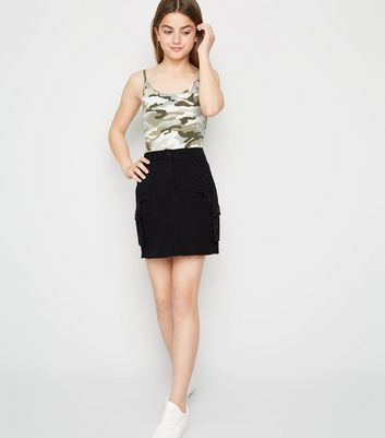 Girls Black Ripped Utility Mini Skirt