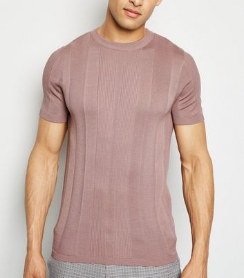 Mid Pink Knit Short Sleeve Muscle Fit T-Shirt