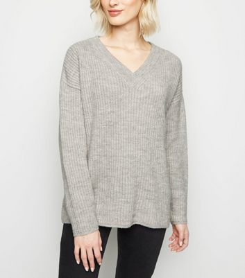 Pale Grey Slouchy V Neck Jumper