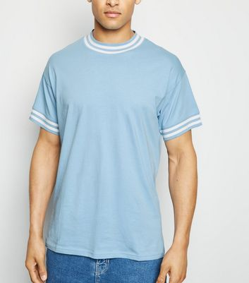 Pale Blue Tipped Short Sleeve T-Shirt