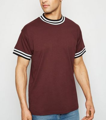 Burgundy Tipped Short Sleeve T-Shirt