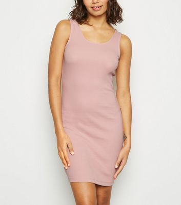 Pale Pink Ribbed Mini Bodycon Dress