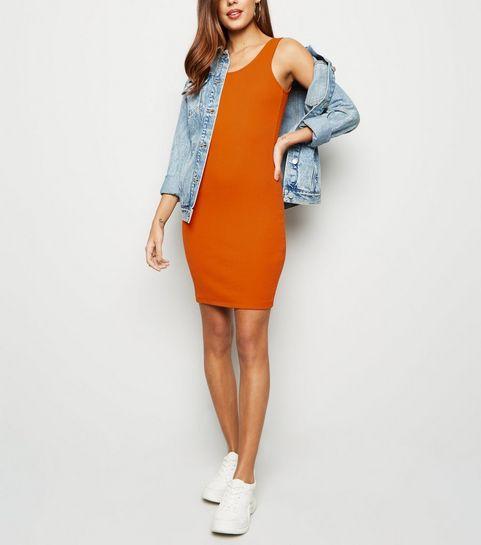 4f55e53a680 ... Orange Ribbed Mini Bodycon Dress ...
