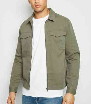 Khaki Utility Zip Front Shacket