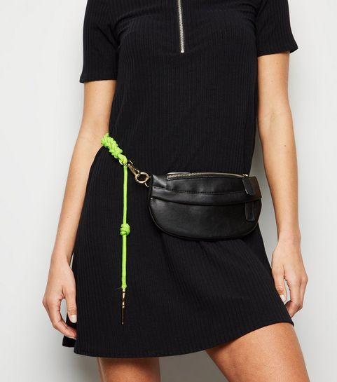 6d9566225479 ... Black Leather-Look Plaited Neon Strap Bum Bag ...
