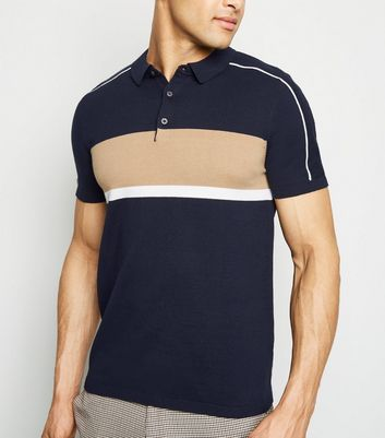Navy Short Sleeve Colour Block Polo Shirt