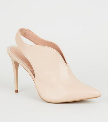 Nude Leather-Look V Front Slingbacks