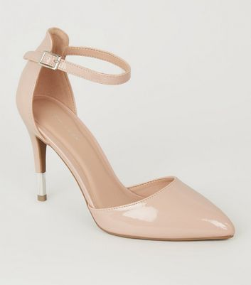 Nude Patent 2 Part Pointed Stiletto Heels