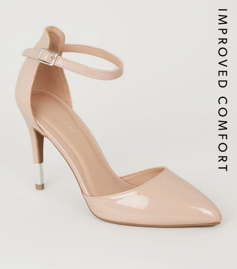 7306d5cf0bc5 ... Nude Patent 2 Part Pointed Stiletto Heels ...