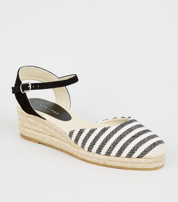 0e10a250795 Black Stripe Woven Espadrille Wedges Add to Saved Items Remove from Saved  Items