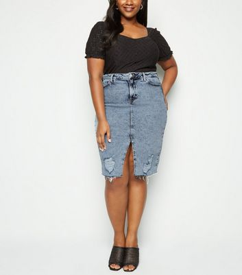 Curves Blue Acid Wash Ripped Denim Midi Skirt