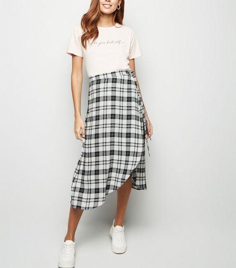 eff8a2fbf77 ... White Check Wrap Midi Skirt ...