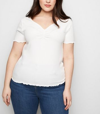 Curves White Ribbed Ruched Front T-Shirt