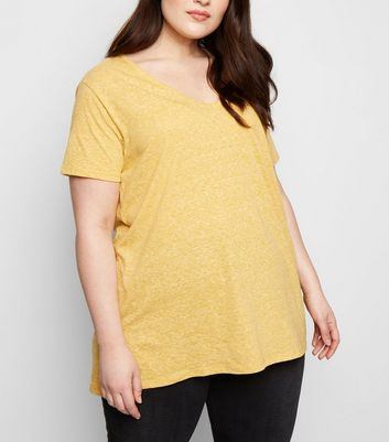 Curves Yellow V Neck Step Hem T-Shirt