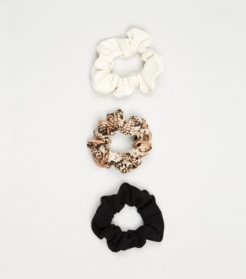 3 Pack Black White and Snake Print Scrunchies