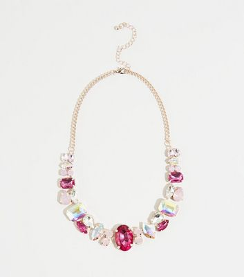 Mid Pink Premium Mixed Jewel Necklace