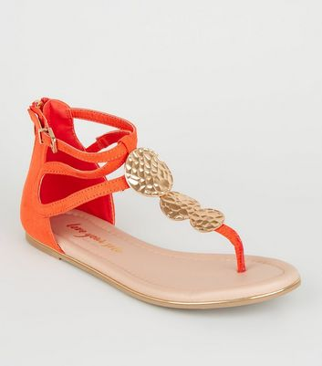 Orange Suedette Hammered Disc Sandals