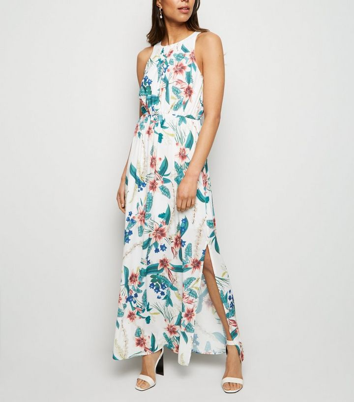 db735b398e Mela White Tropical Floral Maxi Dress | New Look