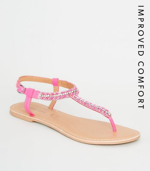 5798a9eb4 ... Bright Pink Leather Strap Diamanté and Bead Sandals ...