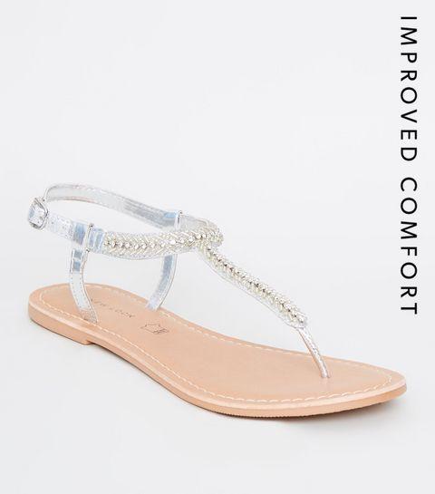 21b9a5366b310a ... Sandales argentées à brides en cuir, à perles et strass ...