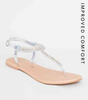 Silver Leather Strap Diamanté and Bead Sandals
