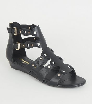 Black Leather-Look Buckle Gladiator Sandals