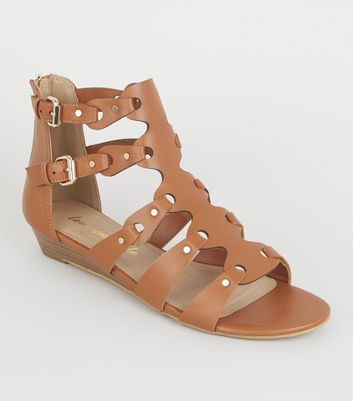 Tan Leather-Look Buckle Gladiator Sandals
