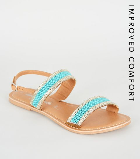a77f63879892f ... Teal 2 Part Beaded Strap Sandals ...