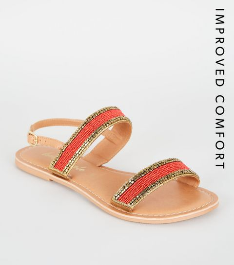 a7d1b9933796a ... Orange 2 Part Beaded Strap Sandals ...