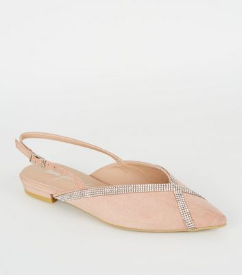 Nude Suedette Diamanté Trim Slingbacks