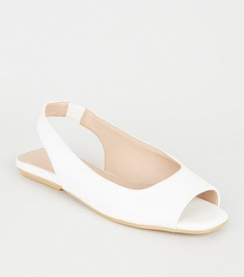 White Leather-Look Peep Toe Slingbacks