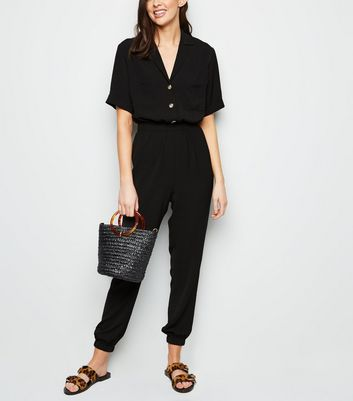 Black Herringbone Cuffed Utility Jumpsuit