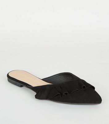 Black Suedette Frill Pointed Mules