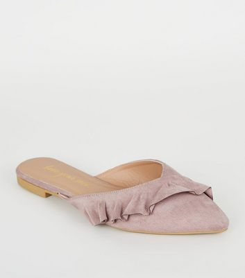 Lilac Suedette Frill Pointed Mules