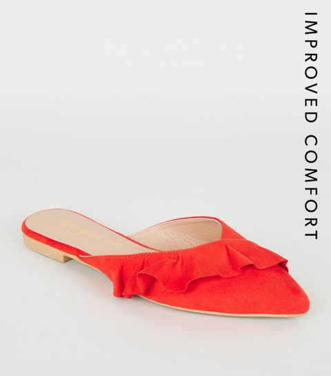 042dcbd94a5c6 ... Red Suedette Frill Pointed Mules ...