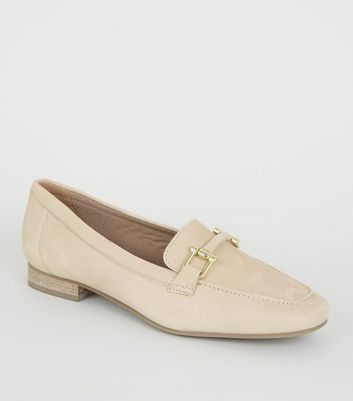 Off White Leather Bar Front Loafers