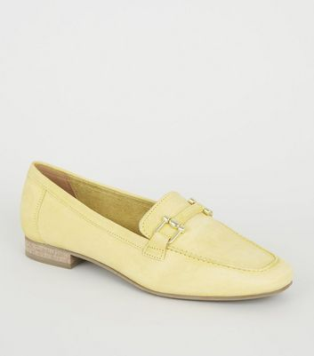 Yellow Leather Bar Front Loafers