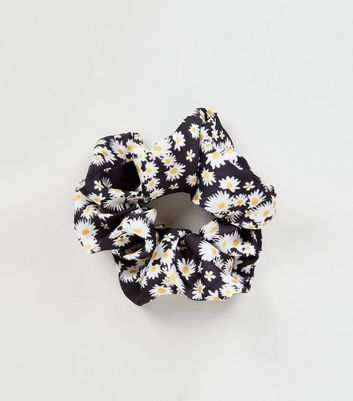 Black Daisy Print Scrunchie