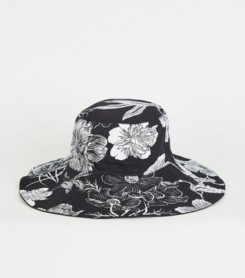 Black Floral Reversible Bucket Hat