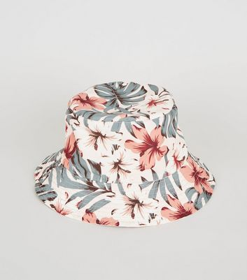 Pale Pink Tropical Print Reversible Bucket Hat