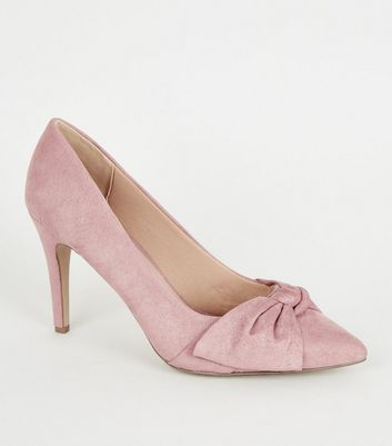 Wide Fit Pink Suedette Bow Front Court Shoes