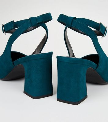 Wide Fit Teal Suedette Flared Block