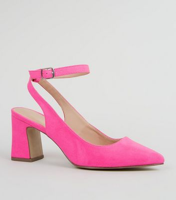 Wide Fit Pink Suedette Flared Block Heels