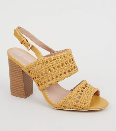 e851b00ca ... Wide Fit Yellow Woven 2 Part Block Heels ...