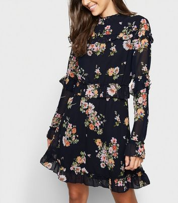 shop for Innocence Navy Floral High Neck Dress New Look at Shopo