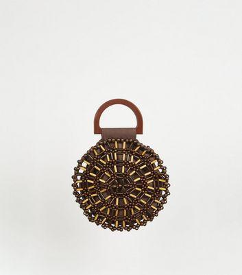 Dark Brown Beaded Round Bag by New Look