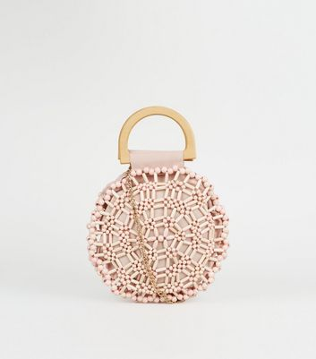 Pink Beaded Round Bag