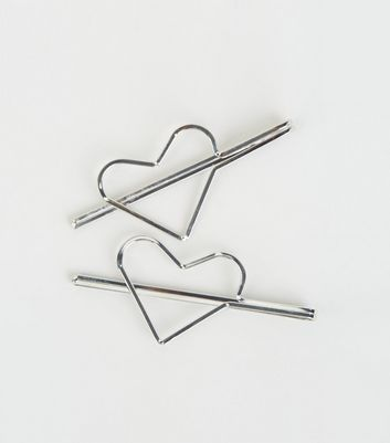 2 Pack Silver Heart Hair Slides